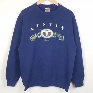 Vintage Austin Texas Navy Crewneck Sweater Large